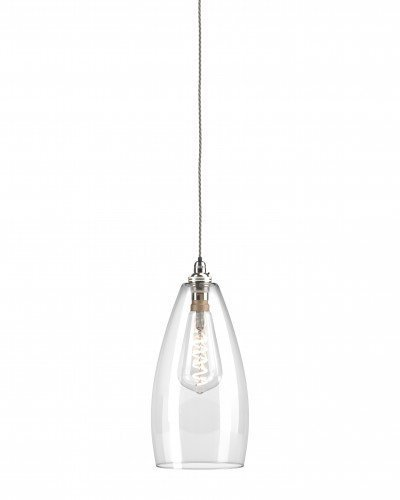 Clear Upton Pendant light with nickel metal finish