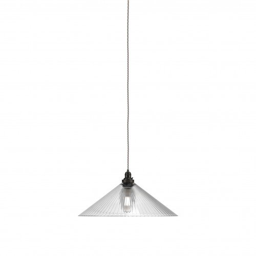 Large Hay coolie pendant light in skinny ribbed glass with bronze metal finish