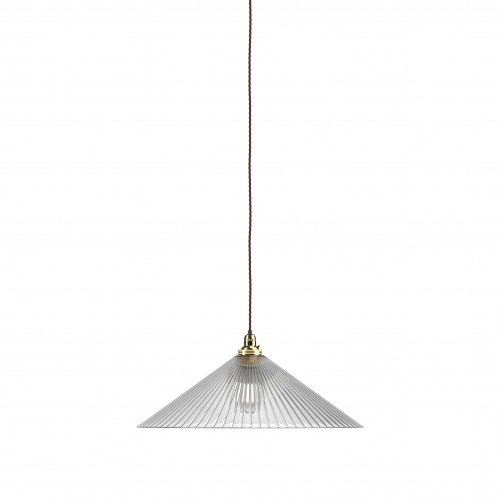 Extra large Hay skinny ribbed coolie pendant light with polished brass metal