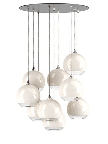 Hereford multi pendant cluster chandelier with white & clear glass globes
