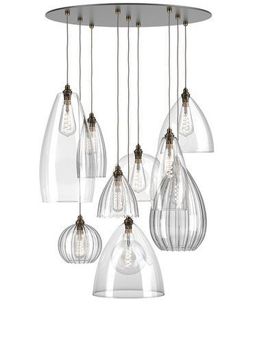 multi pendant cluster chandelier various shades Herefordshire ribbed clear