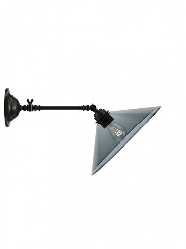 adjustable reading light wall light with Hay smoked glass coolie shade in Bronze