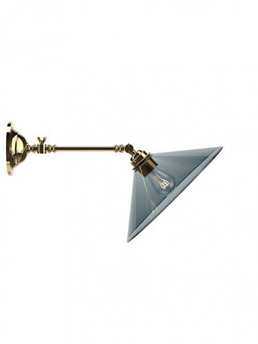 adjustable reading light wall light with Hay smoked glass coolie shade in Polished Brass
