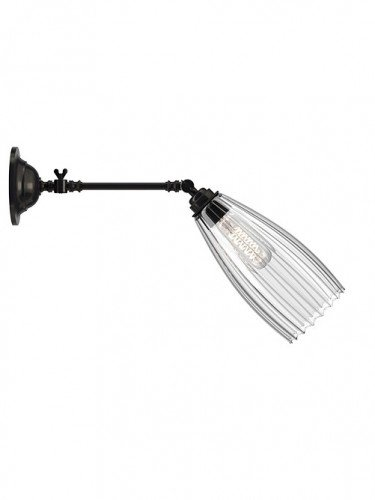 adjustable reading light with Medium handblown Ribbed glass Upton shade in Bronze