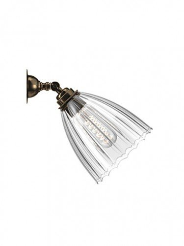 Traditional Spot light with Ribbed hand blown glass Ledbury shade in Antique Brass