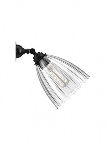 Traditional Spot light with Ribbed hand blown glass Ledbury shade in Bronze