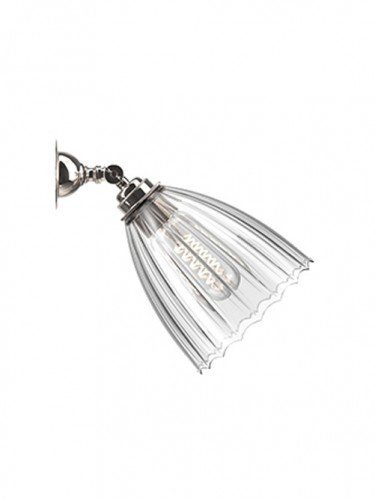 Traditional Spot light with Ribbed hand blown glass Ledbury shade in Nickel