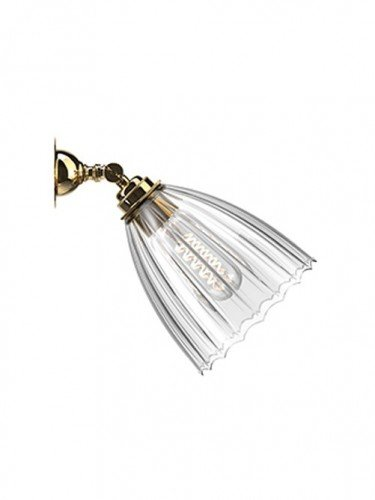 Traditional Spot light with Ribbed hand blown glass Ledbury shade in Polished Brass