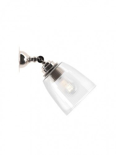 Traditional spotlight with handblown skinny ribbed glass shade in Nickel