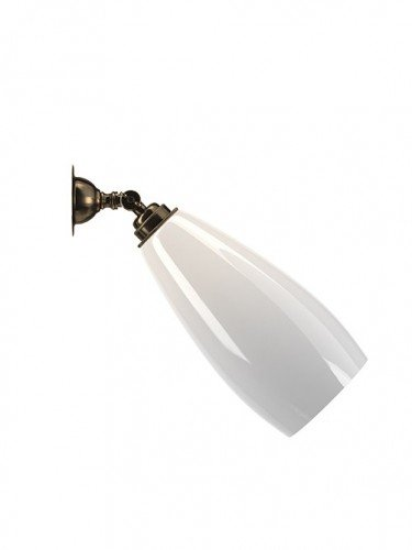 Contemporary lighting adjustable White glass Upton spotlight wall light in Antique Brass
