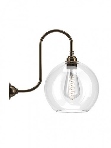 LargeHandblown Hereford clear glass swan neck wall light in Antique Brass