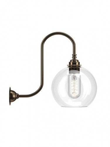 Medium Handblown Hereford clear glass swan neck wall light in Antique Brass