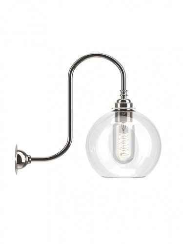 Medium Handblown Hereford clear glass swan neck wall light in Nickel