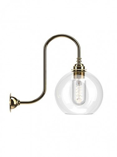 Medium Handblown Hereford clear glass swan neck wall light in Polished Brass