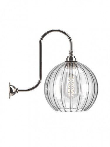 Large Ribbed Hereford Globe swan Neck Wall Light In Nickel