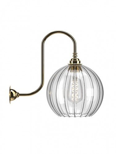 Large Ribbed Hereford Globe swan Neck Wall Light In Polished Brass