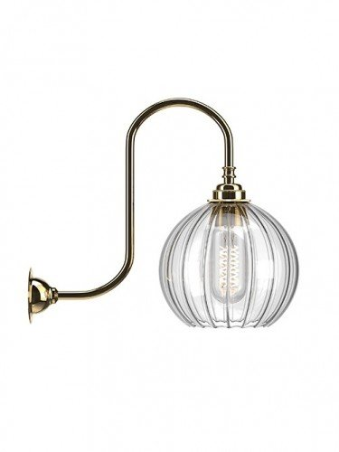 Medium Ribbed Hereford Globe swan Neck Wall Light In Polished Brass