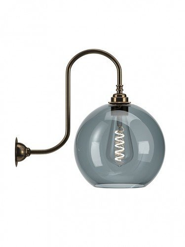Large Handblown Hereford glass globe hereford swan neck wall light in Antique Brass