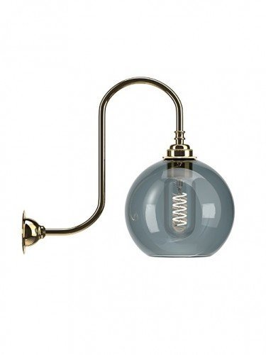 Medium Handblown Hereford glass globe hereford swan neck wall light in Polished Brass