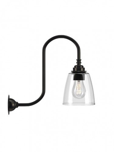 Swan neck wall light with Clear hand blown glass Pixley shade in Bronze