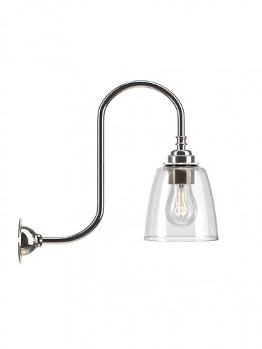Swan neck wall light with Clear hand blown glass Pixley shade in Nickel