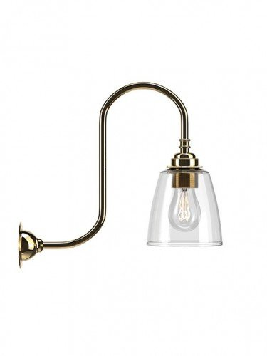 Swan neck wall light with Clear hand blown glass Pixley shade in Polished Brass