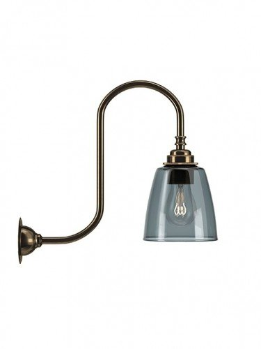 Swan neck wall light with Smoked hand blown glass Pixley shade in Antique Brass