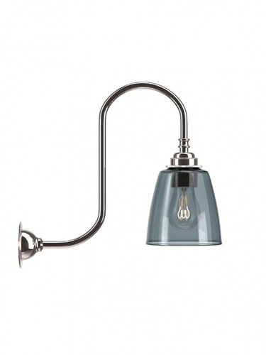 Swan neck wall light with Smoked hand blown glass Pixley shade in Nickel