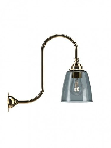Swan neck wall light with Smoked hand blown glass Pixley shade in Polished Brass