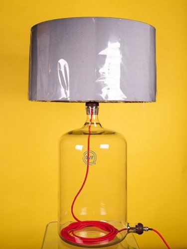 Converted table lamp with red flex, featured in Fritz Fryer sale