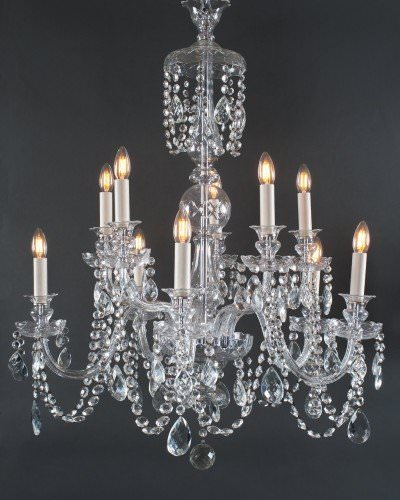 10 Branch Bohemian Antique Crystal Chandelier, Antique Lighting