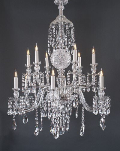 12 Branch Antique Perry Crystal Chandelier, Antique Lighting