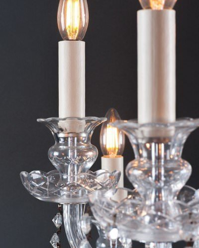 Antique crystal chandelier, candle close up