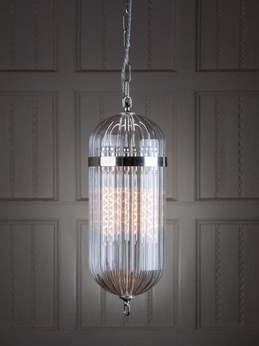 Aston ribbed handblown lantern nickel finish
