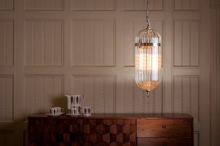 Aston clear handblown glass lantern in nickel with ribbed glass top ribbed glass bottom
