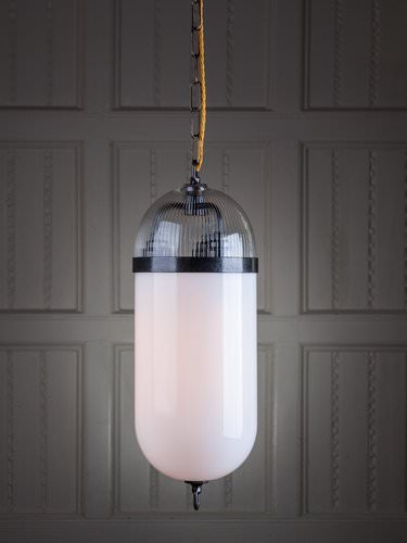 Aston lantern shown here features clear and white handblown glass, an extremely popular hallway choice