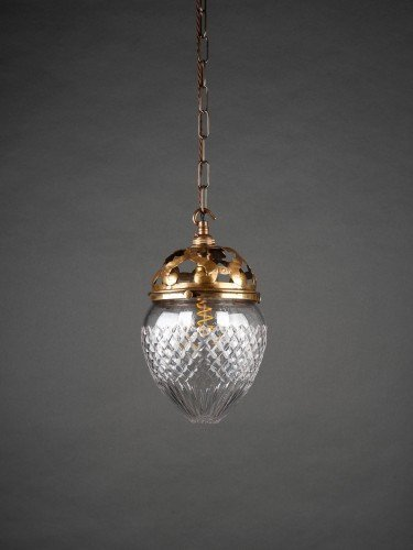 Hobnail cut glass pineapple pendant light with original decorative gallery lights off