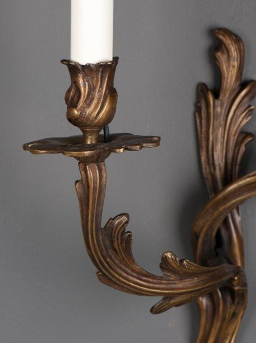 Pot detail from pair of two branch rococo antique wall sconces pot