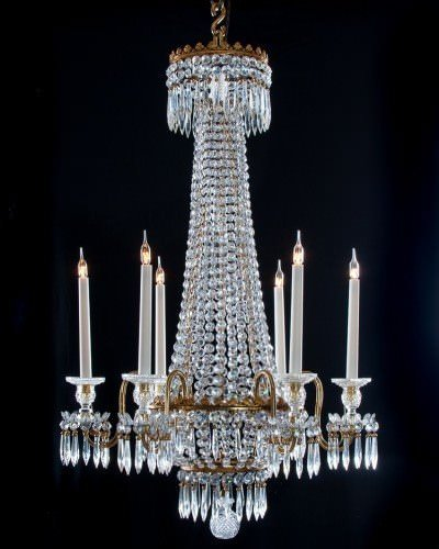 Antique Regency Crystal 6 Armed Chandelier Attributed To Hancock, Antique Lighting