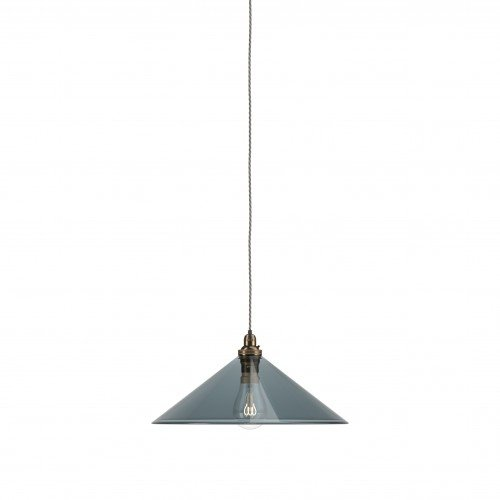 Hay coolie pendant light with smoked glass and antique brass metal finish