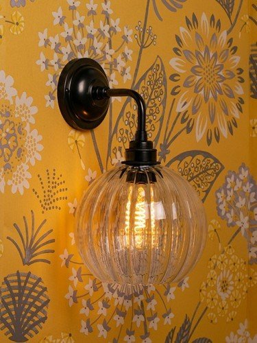Hereford ribbed glass globe Contemporary Wall Light in Bronze