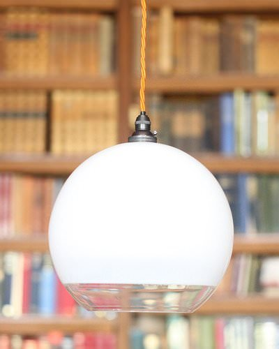 handblown glass hereford globe pendant light in the library