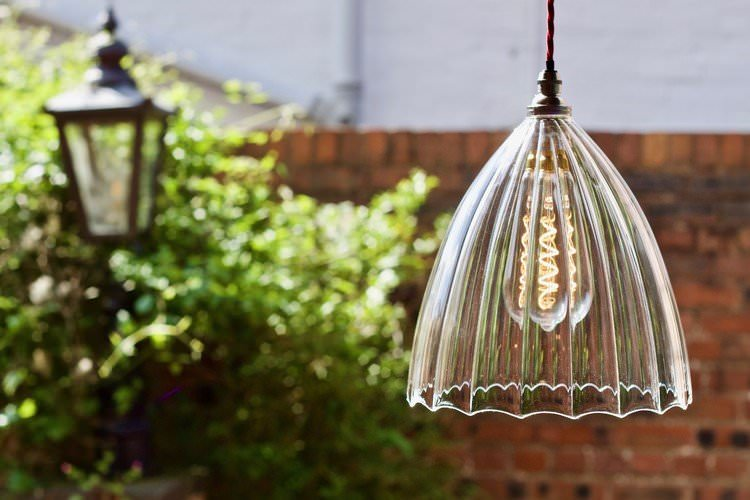 Ledbury ribbed pendant light,  hand made glass shade, made in the UK