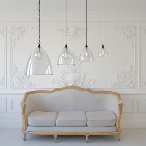 Family of Ledbury Pendant lights in a row from XXL to medium