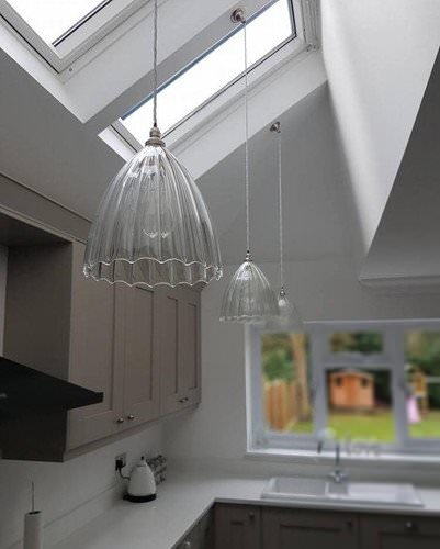 Ledbury ribbed pendant lights, hung, 3 in a row in a kitchen