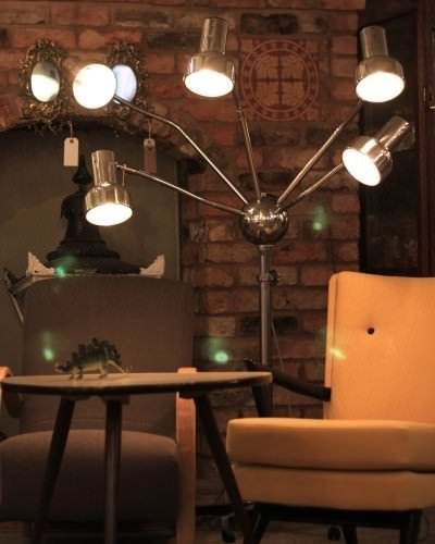 Fritz Fryer Up-Cycled Hairdressers Lamp on wheels
