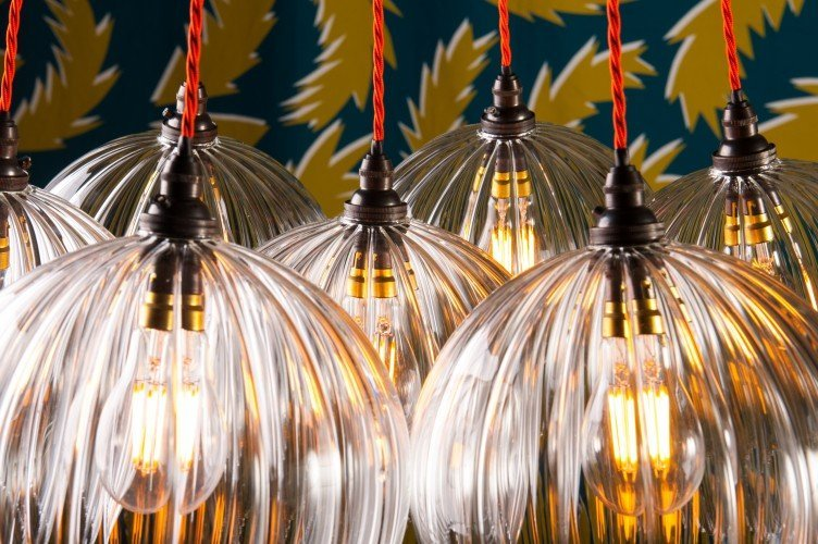 Fritz Fryer Ribbed Hereford Globe Cluster Pendant Light