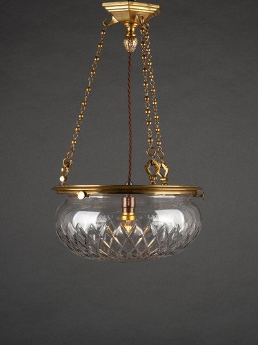 ANTIQUE LIGHTING BRASS PLAFONNIER WITH CUT CRYSTAL BOWL