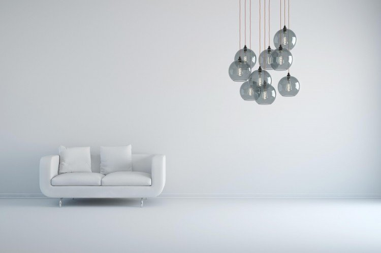 Smoked Hereford globe cluster pendant chandelier