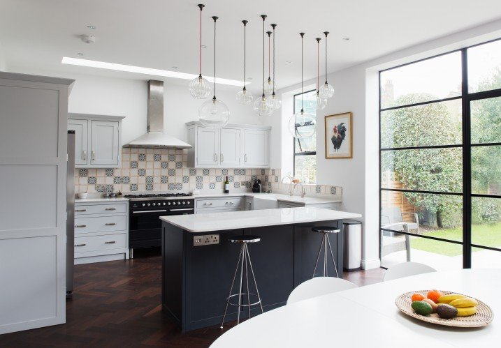 A Stunning Shaker Kitchen Design Featuring A mixture Of Hereford Globe Pendant Lights